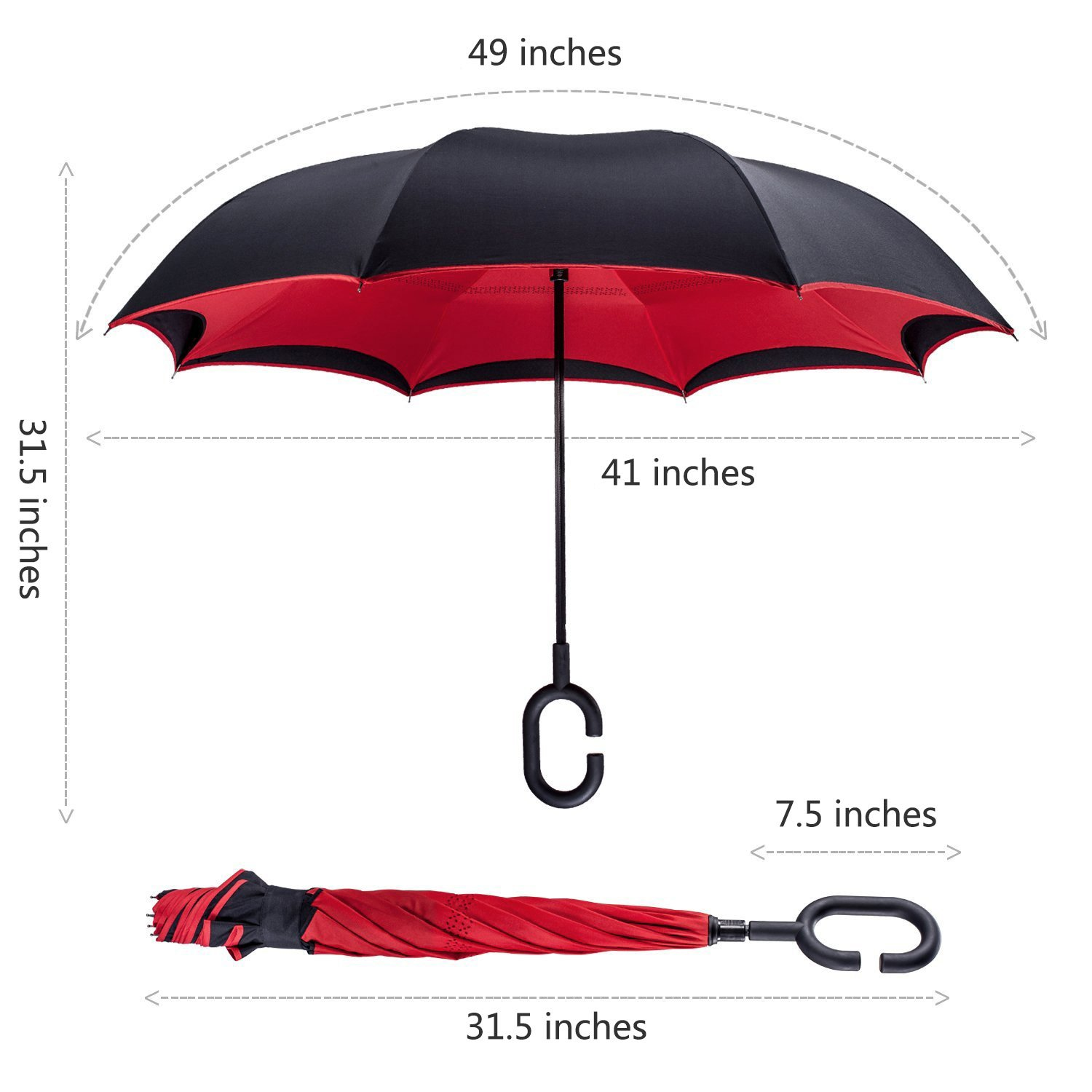 TOOGE Windproof Reverse Folding Double Layer Inverted Umbrella and Self Standing Inside Out Rain Protection Umbrella with C-shaped Hands Free Handle, ...