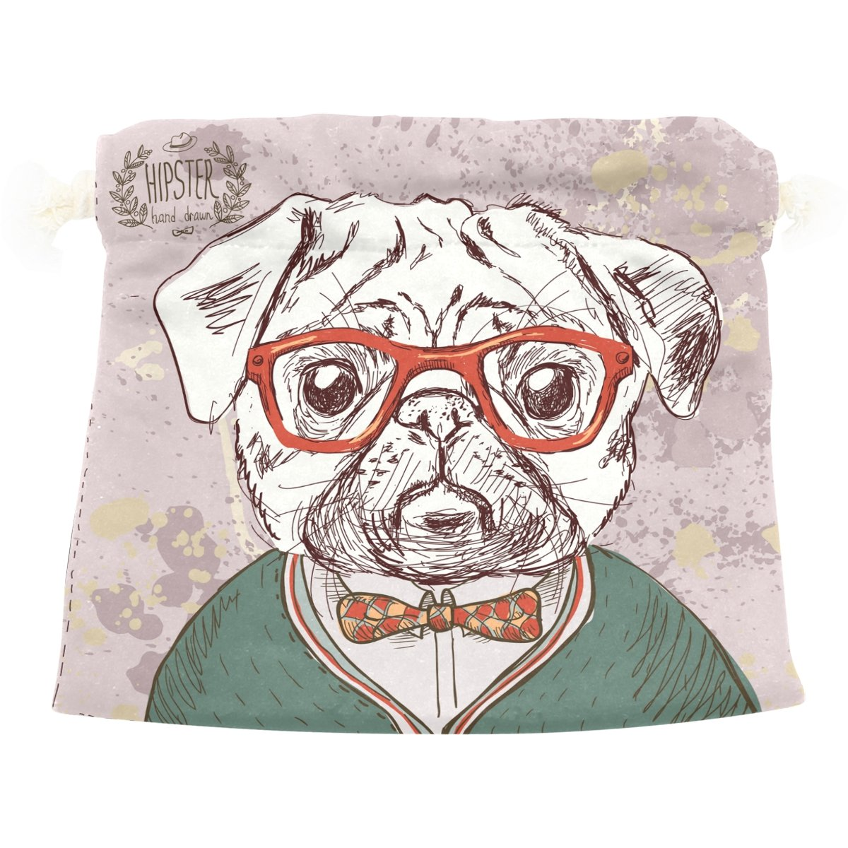 Dragon Sword Vintage Hipster Pug Dog Puppy Portrait Gift Bags Jewelry Drawstring Pouches for Wedding Party, 5.5x5.5 Inch