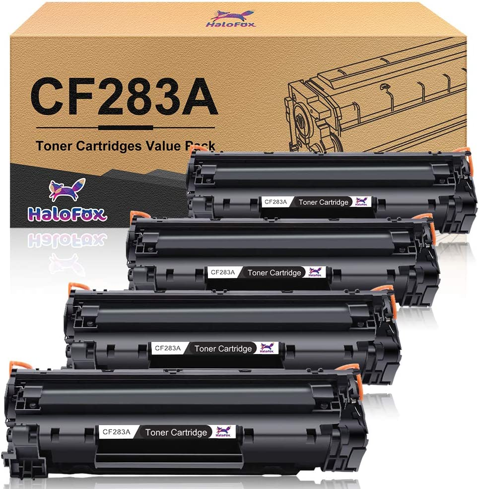 HaloFox Compatible Toner Cartridge Replacement for HP 83A CF283A Work with HP Laserjet Pro MFP M127fn M127fw M201dw M225dw Printer (Black,4-Pack)