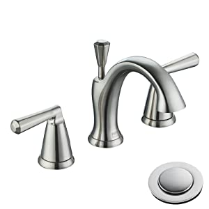 Enzo Rodi Low-Lead Brass Low-Arc Two-Handle 3 Holes Widespread Bathroom Sink Faucet with Valve and Lift Pop-Up Drain Assembly Brushed Nickel ERF2212254AP-10