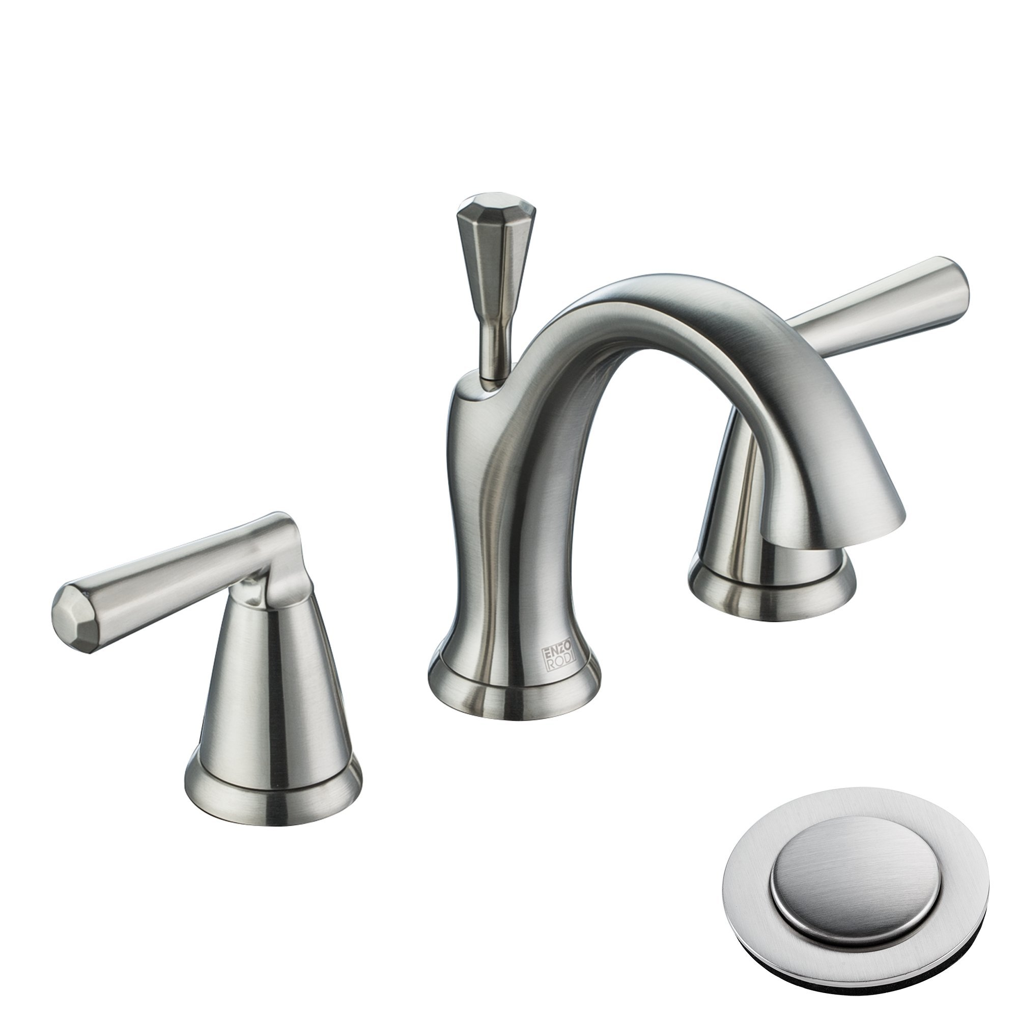 Enzo Rodi Two-handle Low-arc Lead-free Brass Widespread Bathroom Faucet with Ceramic Valve and Full-copper Lift Pop Up Drain Assembly, Brushed Nickel PVD, ERF2212254AP-10