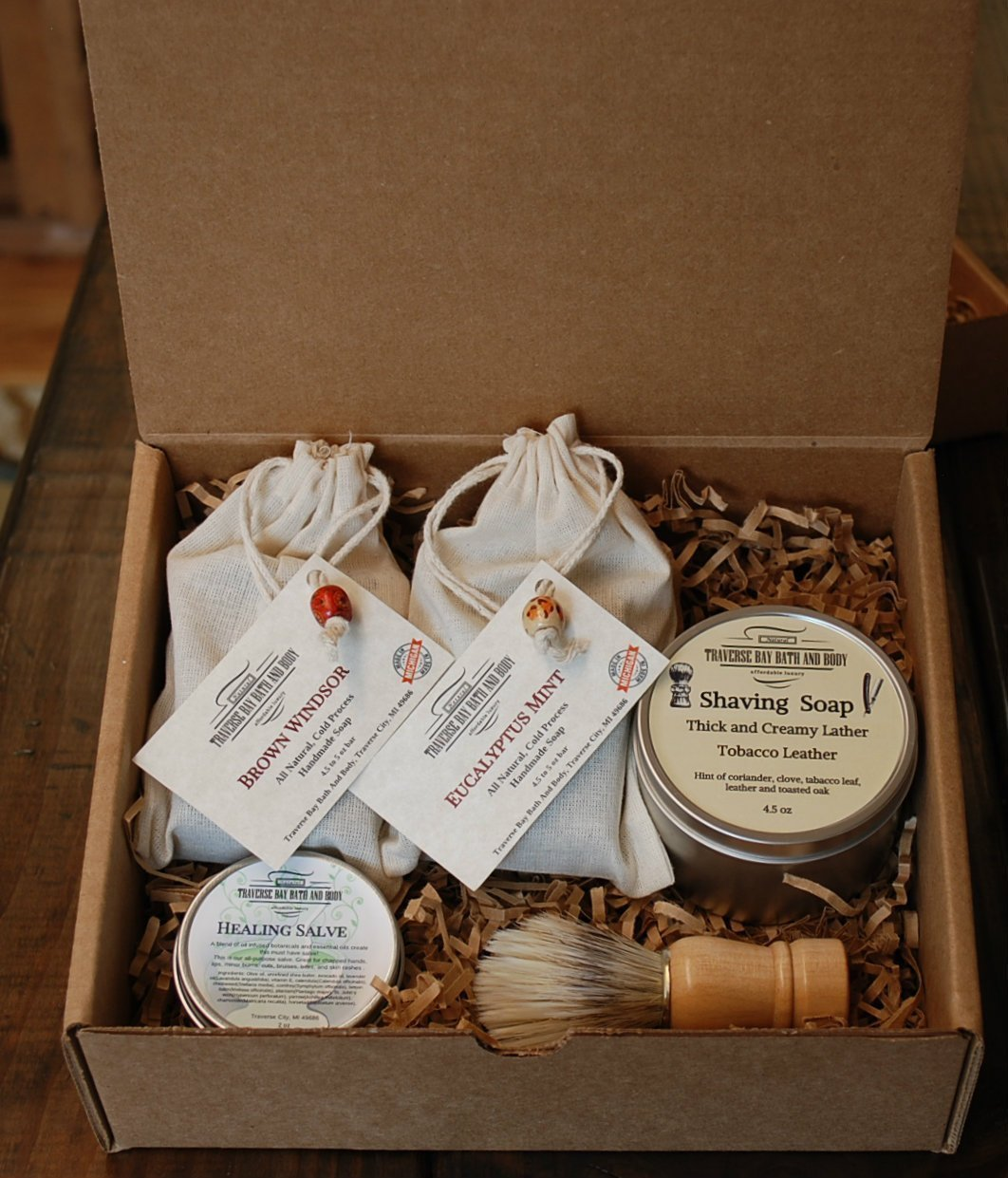 A Great gift box of natural handmade soaps and Shaving soap.