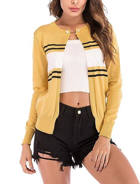 Cardigan Mujer Manga Larga Cuello Redondo Flecos Chaqueta De Punto Hipster Otoño Primavera Elegantes Informales Suéter Ropa Chaqueta Corto Abrigos Outwear: ...