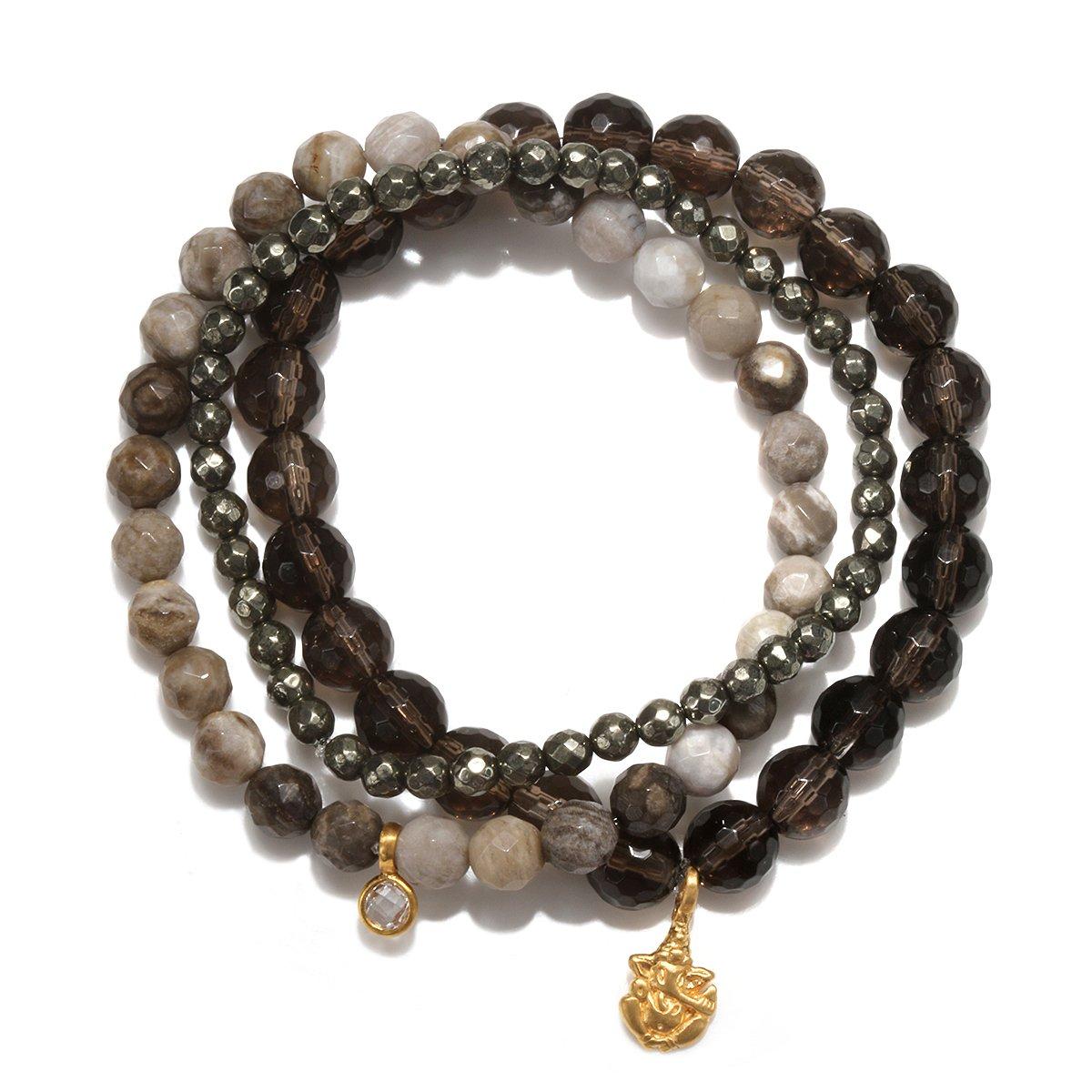 Satya Jewelry Smokey Quartz, Agate, Pyrite Gold Plate Ganesha Stretch Bracelet by Satya Jewelry