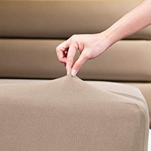 """Fitted Sheet- COSMOPLUS Queen Fitted Sheet Only(No Flat Sheet or Pillow Shams),4 Way Stretch Micro-Knit,Snug Fit,Wrinkle Free,for Standard Mattress and Air Bed Mattress from 8"""" Up to 14"""",Taupe"""