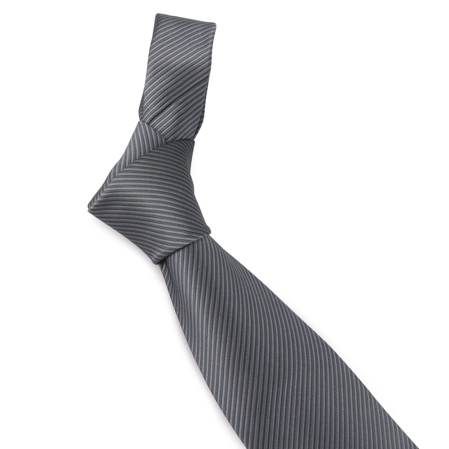 Mens Necktie Classic Striped Neckties, 54'' Long Polyester Solid Grey Neck Tie, Seasonless Formal Casual Business Necktie by Segbeauty (Image #5)