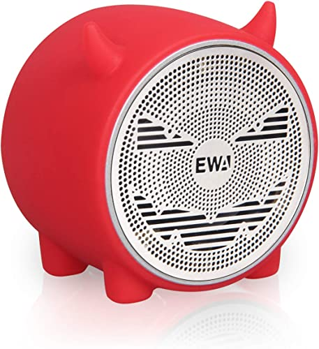 EWA A101 Mini Bluetooth Speaker, Wireless Portable Bluetooth Speaker, Small but Loud, Built in FM Radio, Support TF Card, Mini Cute Speaker for Christmas New Year, a Gift for Kids of All Ages Red
