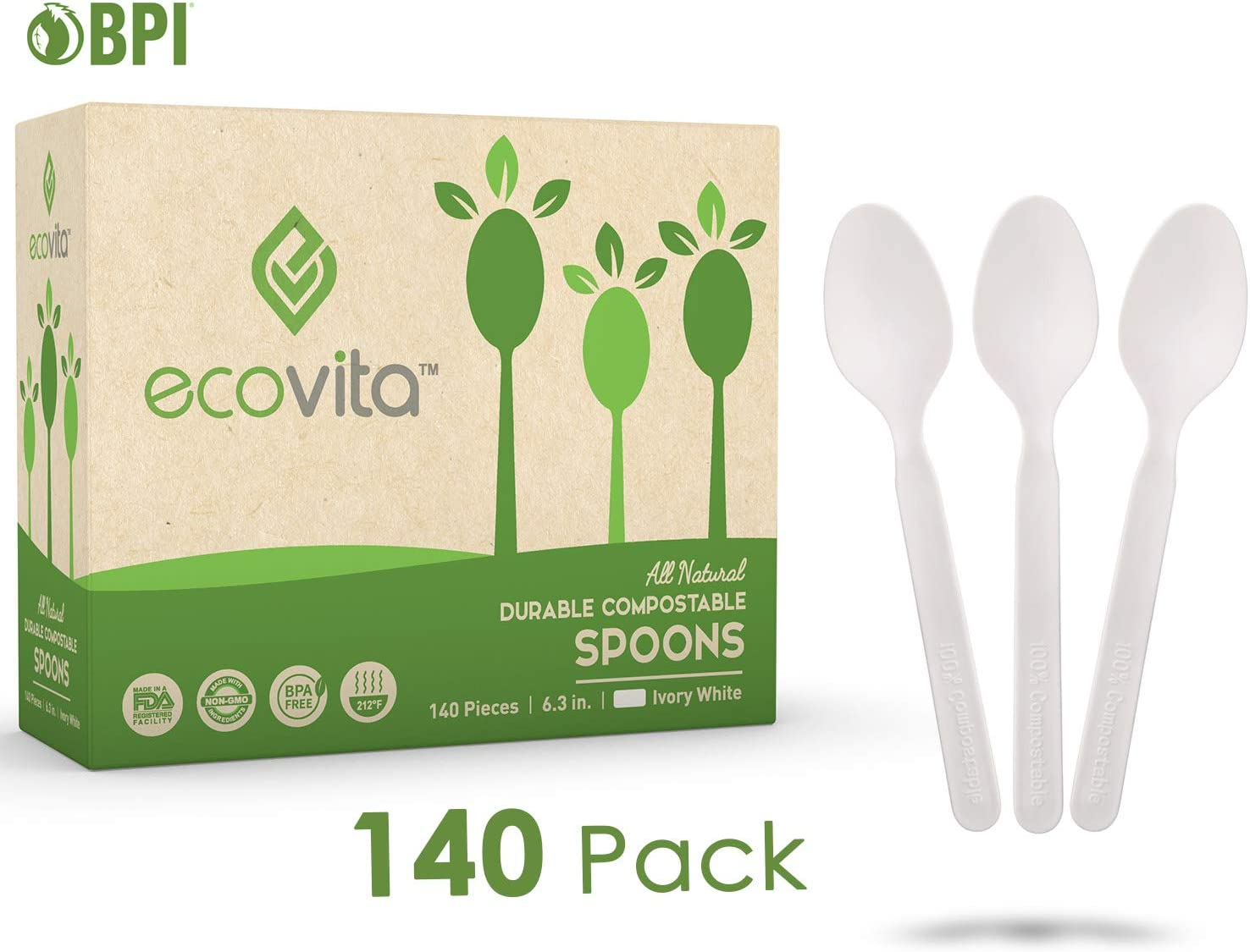 100% Compostable Spoons - 140 Large Disposable Utensils (6.5 in.) Eco Friendly Durable and Heat Resistant Plastic Spoons Alternative with Convenient Tray by Ecovita