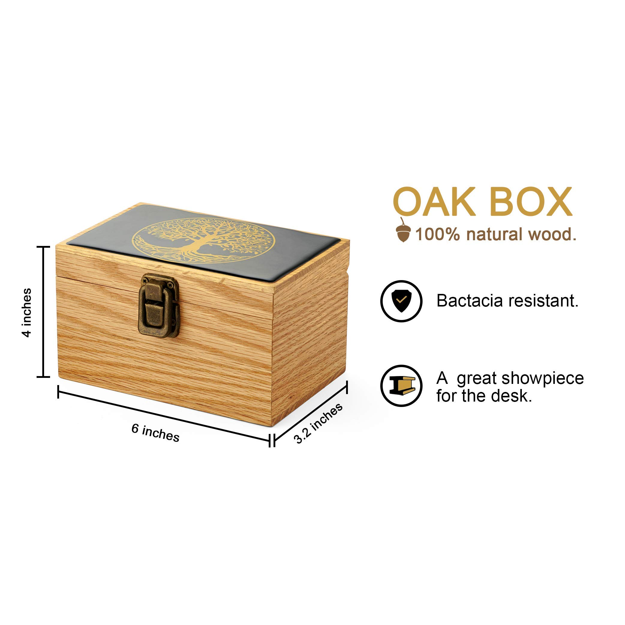 Tree of Life Oak Wood Stash Box Combo - Big Size Titanium 4 Part Herb Grinder - Airtight Wood Lid Glass Stash Jar - Engraved Wood Handmade Decorative Stash Box - Smell Proof and Airtight. (Oak)