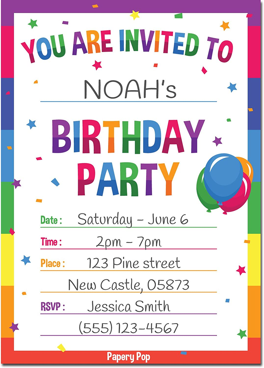 Birthday Invitations with Envelopes (3 Pack) - Kids Birthday Party  Invitations for Boys or Girls - Rainbow