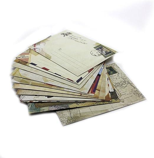 Oulensy Lot de 12 Mini Vintage//Petit Style europ/éen Airmail enveloppe pour Les Cartes de voeux