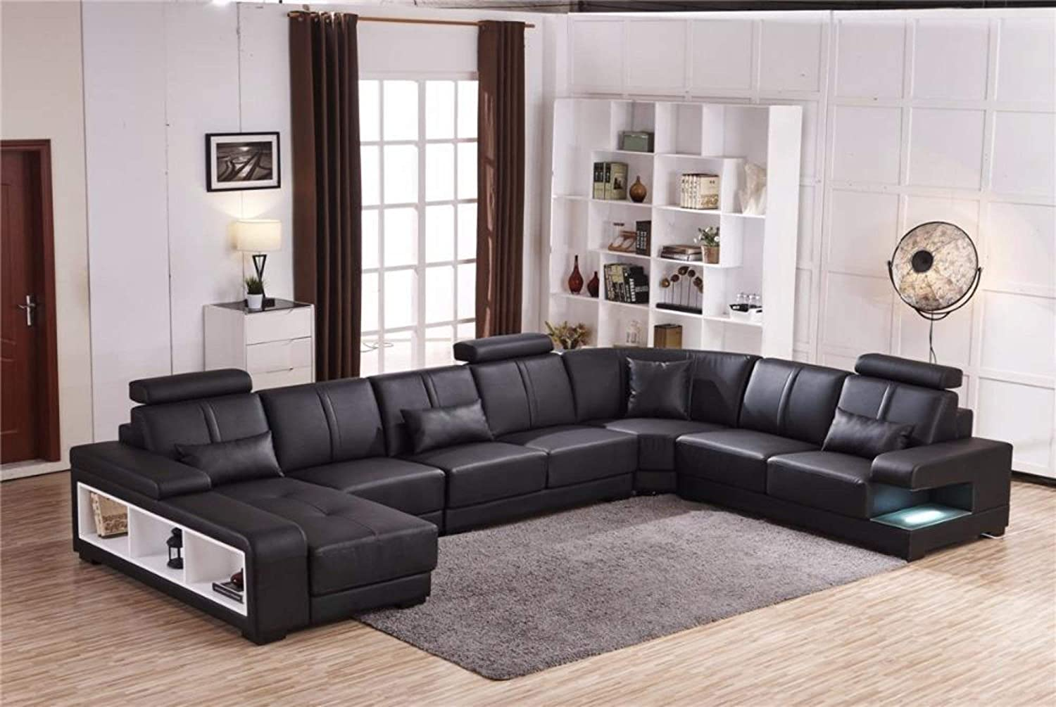 Juan Adjustable C-Type Six Seater Sectional Sofa in Coffee Brown by Athena  Crafts