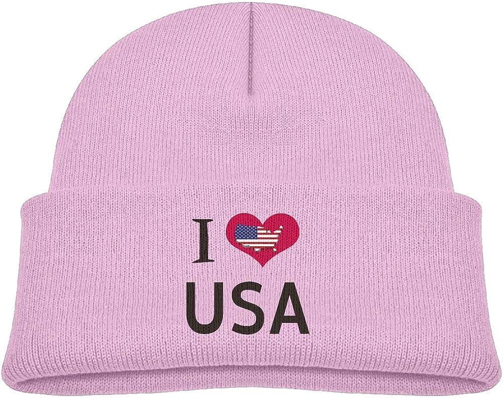 I Love USA Wool Skull Caps Warm Boys 0-3 Old