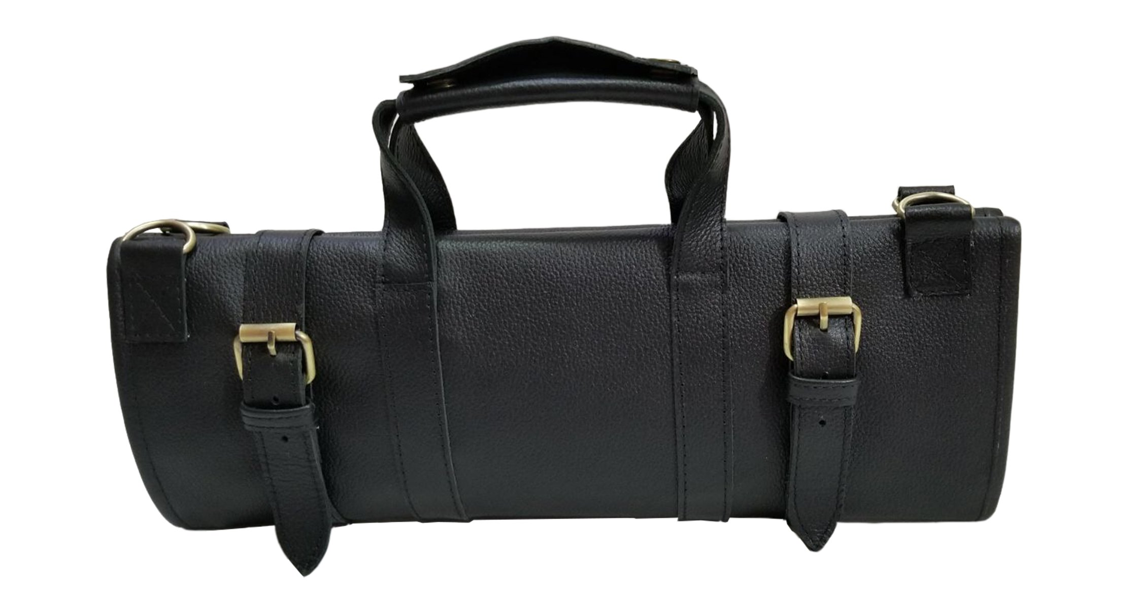 Professional Chef Bag Lightweight Genuine Premium BLACK LEATHER 13 Pockets Knife Bag/Chef Knife Roll #K09