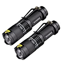 RockBirds LED Flashlights with Fluorescent Ring(2 Pack) - High Lumen, Zoomable, 3 Modes, Water Resistant, Handheld Light - Best Camping, Outdoor, Emergency, Everyday Mini Flashlights