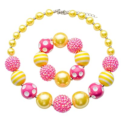 Chinaboy Chunky Bubblegum Necklace Pink and Gold Fashion Beads and Bracelet Set with Gift for Baby Girls: Toys & Games