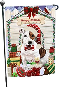 Happy Holidays Christmas Jack Russell Terrier Dog House with Presents Garden Flag GFLG51447