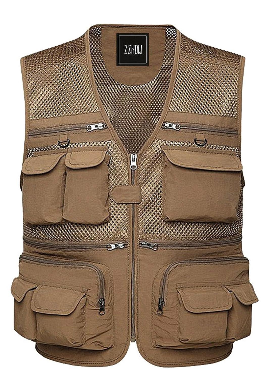 ZSHOW Men's Lightweight Outdoor Quick-Dry Mesh Fly Fishing Vest(Khaki,Medium) | eBay
