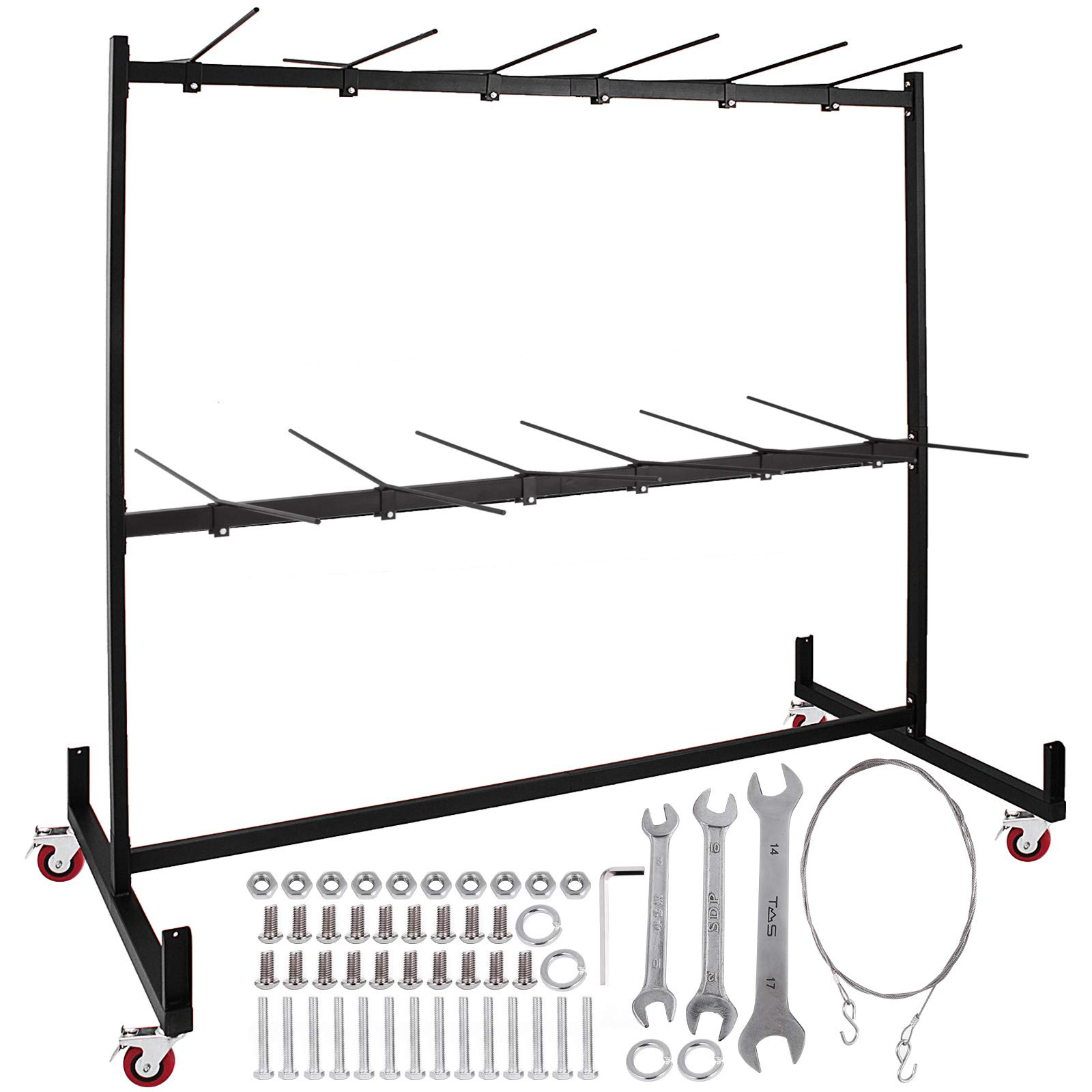 Happybuy Two-Tier Folding Chair Rack Dolly Cart with Locking Wheels Transport Max 60 Chairs 12 Tables Heavy Duty Hanging Foldable Seat and Table Combo Trolly Rack Steel Folding Chair Cart by Happybuy