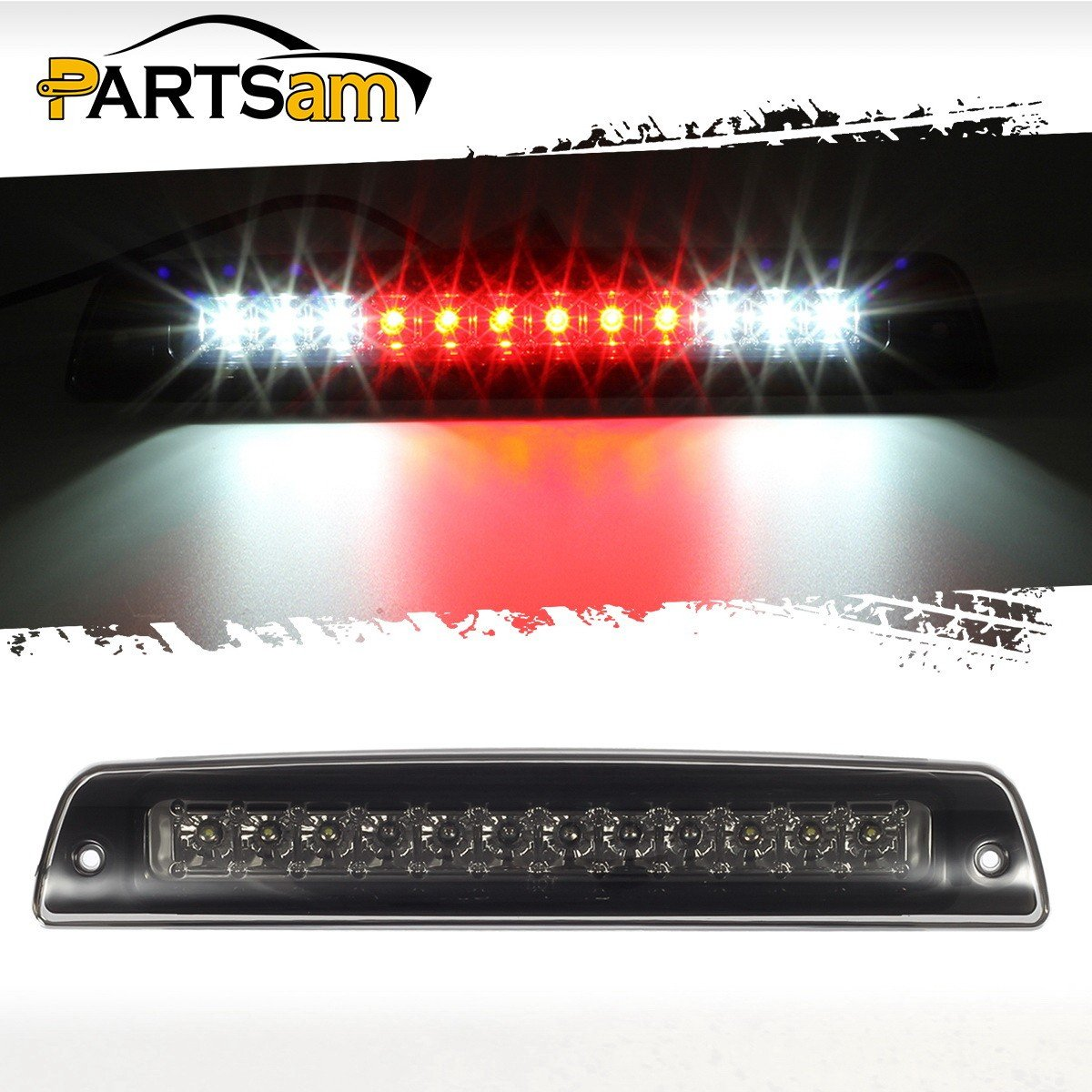 Partsam Third Brake Light for 1994-2001 Dodge Ram 1500 2500 3500 Smoke Lens Red/White LED High Mount 3rd Third Brake Cab Cargo Stop Tail Rear Light Lamp