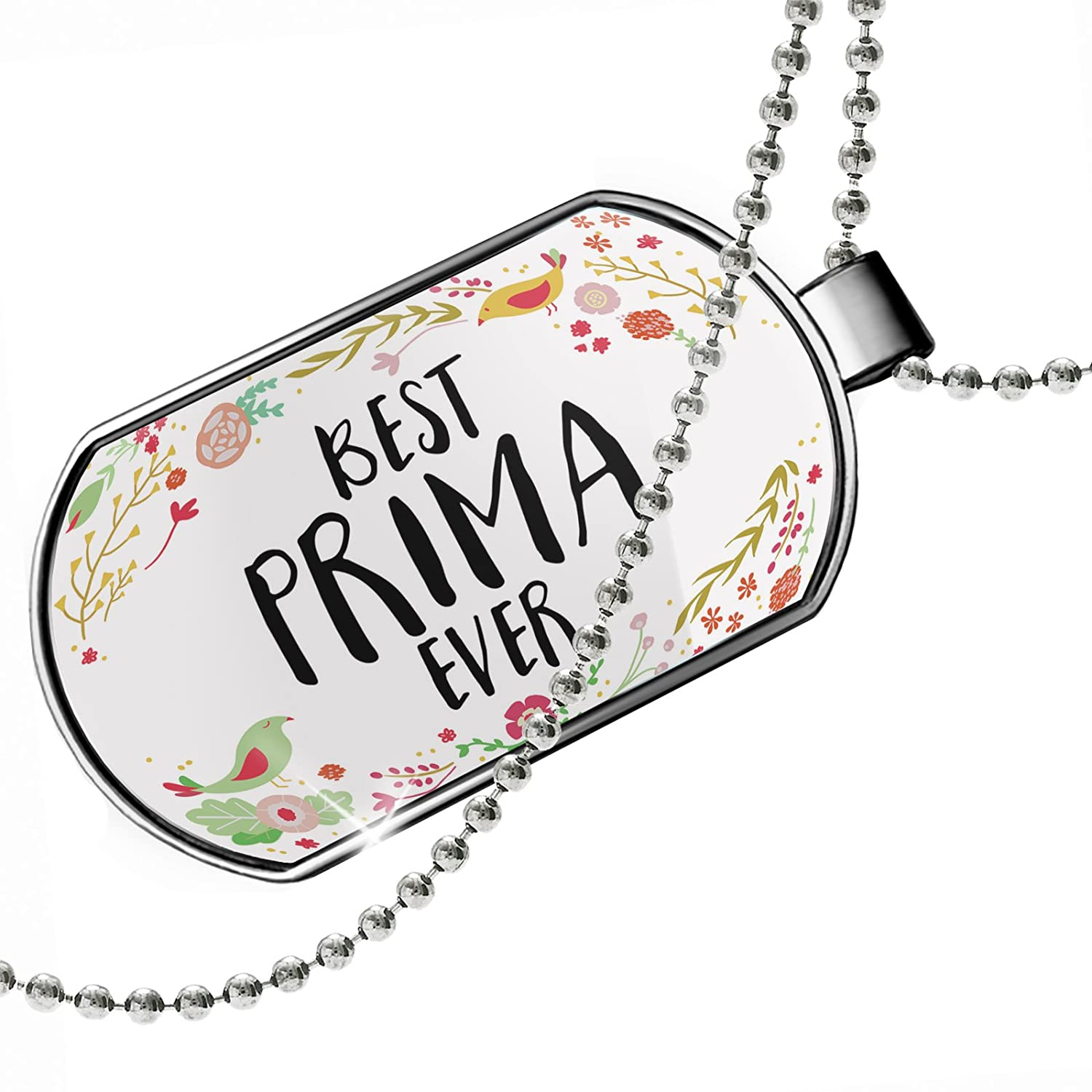 NEONBLOND Personalized Name Engraved Happy Floral Border Prima Dogtag Necklace