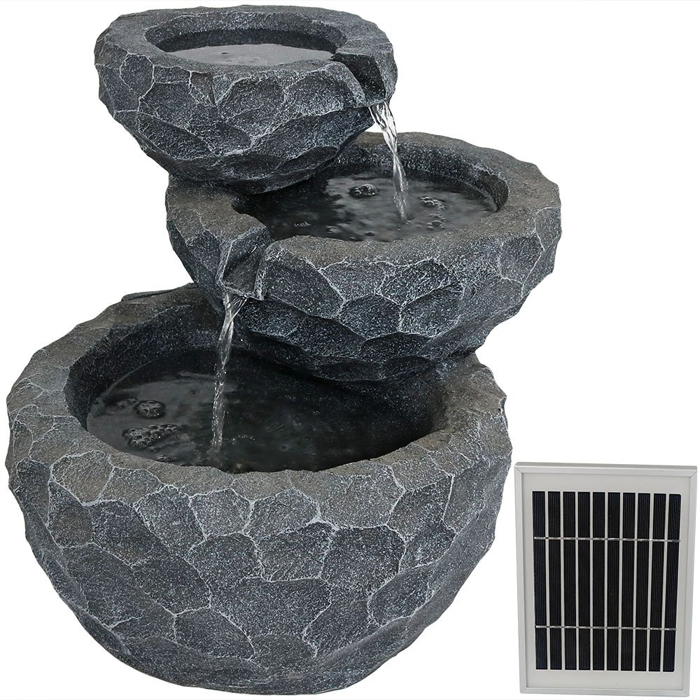 Sunnydaze 3-Tier Chiseled Basin Solar on Demand Garden Fountain, 17 Inches, Includes Battery Pack