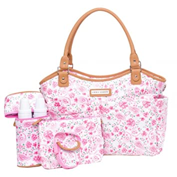 Amazon.com   Laura Ashley 6 Piece Large Triple Compartment Tote Diaper Bag  - Pink Floral (Pink Floral)   Baby bf64dbda8198f