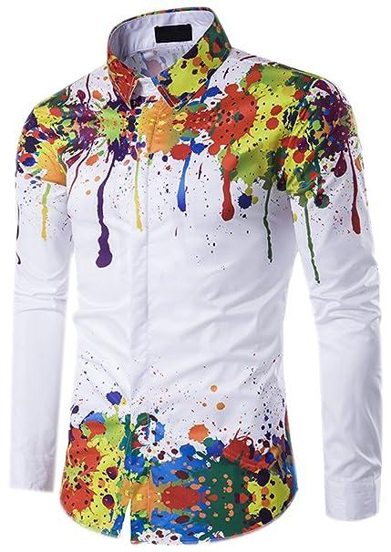 Fuxiang Hombre Camisas Estampadas Slim Fit Shirt Manga Larga Moda Camisa Casual Cuello Vestir Shirts Blusa Tops Formales Camiseta: Amazon.es: Ropa y ...