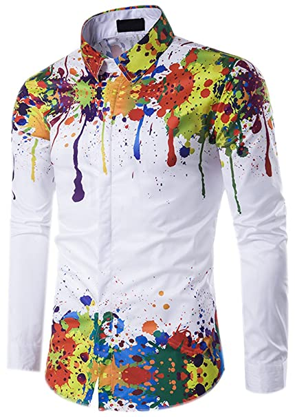 Uomo Slim Fit Stampate Camicie Maniche Lunghe Casual Fantasia Camicia Abito  Camicia Top Camicetta Shirt Moda Men Colorate Modellata Shirts  Amazon.it   ... 2319a95b00a