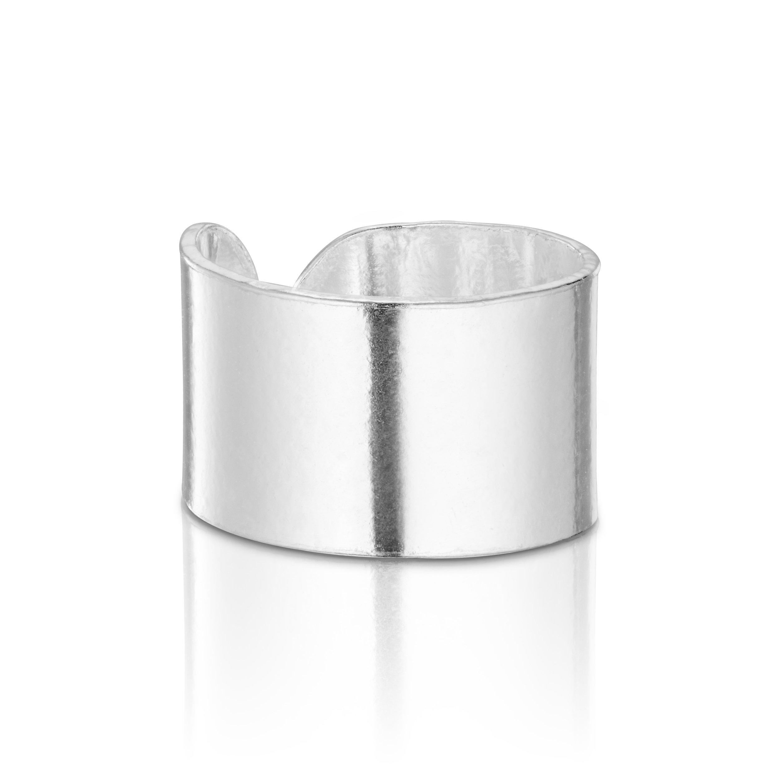 925 Sterling Silver Wide Round Silver Top Ear Cuff Ear For 1 Ear Earring