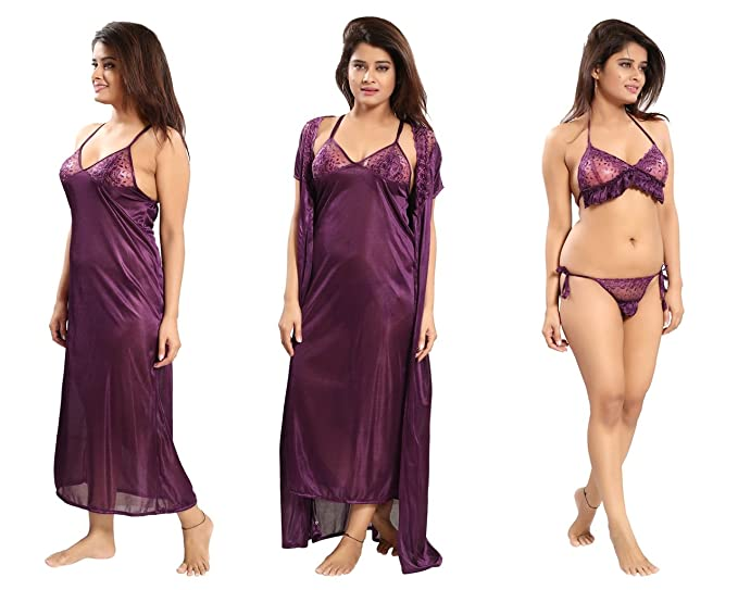 cfdbe2880215c REPOSEY Wine Women's Satin Nightwear Free Size Set of 4 Pcs Robe with Nighty ,Bra