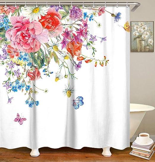 Golden Butterfly Flowers Shower Curtain Liner Bathroom Waterproof Fabric Hooks