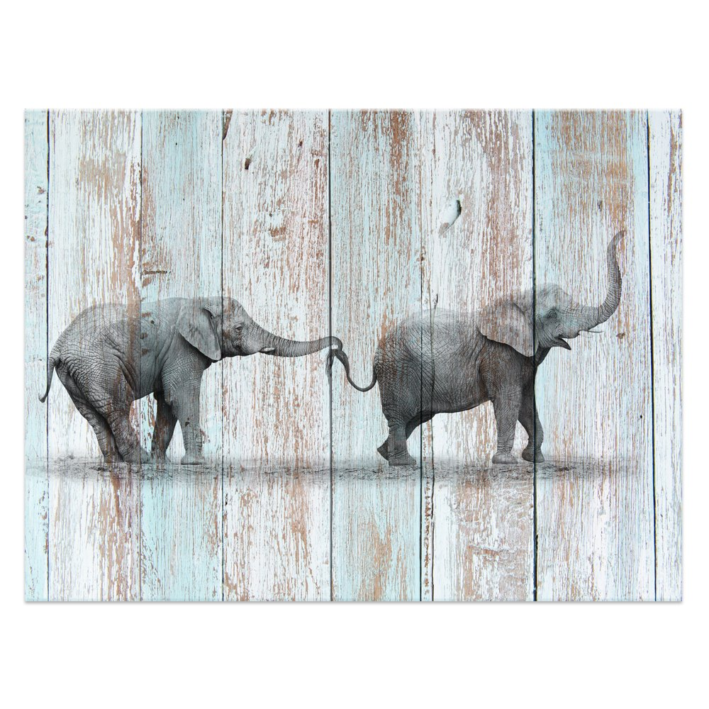 "Visual Art Decor Black and White Elephant Canvas Prints Wall Decor Wood Background Canvas Prints Wall Art (24""x32"", Elephant)"