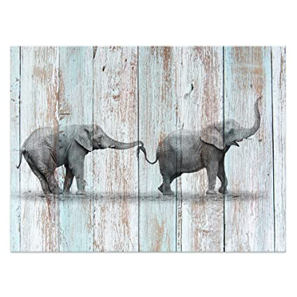 Visual Art Decor Animals Canvas Prints Elephant Wall Decor Dual View  Picture On Wood Background Wall