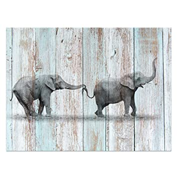 Visual Art Decor Animals Canvas Prints Elephant Wall Decor Dual View Picture On Wood Background Wall Art Decor 16 X20 Elephant