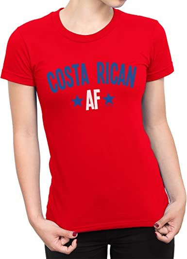 LADIES COSTA RICA Football Doodle Team Badge T-Shirt World Cup 2018 Fan Womens