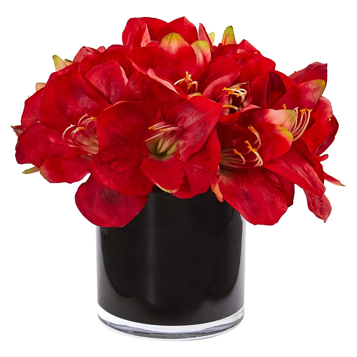 Nearly Natural 1872-RD Amaryllis Artificial Glossy Cylinder Silk Arrangements Red