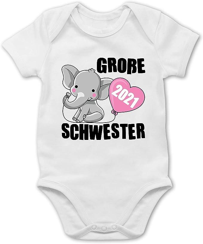 schwarz Gro/ße Schwester 2021 mit Elefant Shirtracer Kurzarm Baby-Shirt f/ür Jungen und M/ädchen Geschwisterliebe Baby