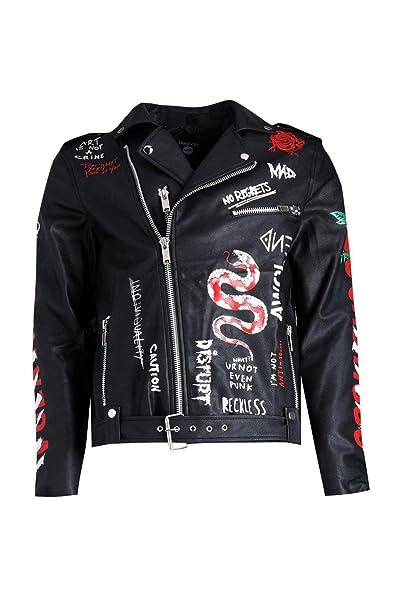 be16d7c05b Boohoo Mens Black Faux Leather Graffiti Print Biker Jacket In Black Size M