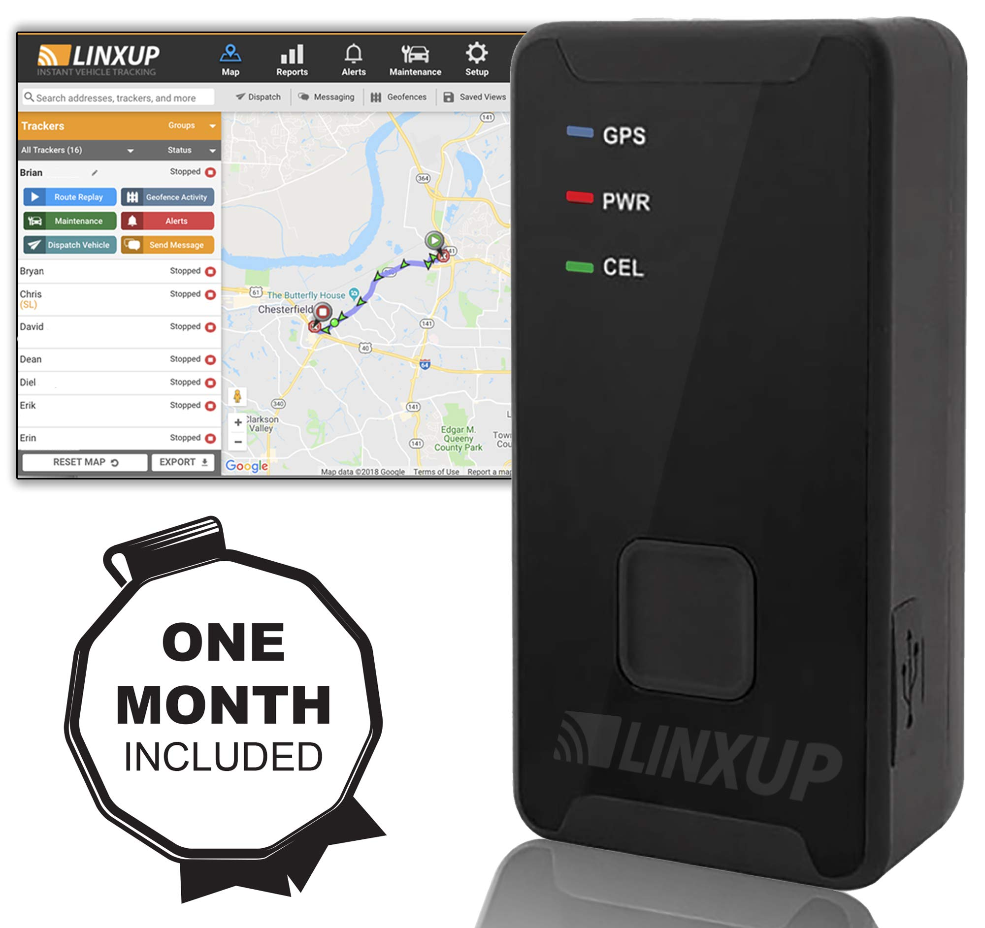 Linxup LTAS1_FM Mini GPS Tracker and Tracking with Free Month Service Included, Mini +1