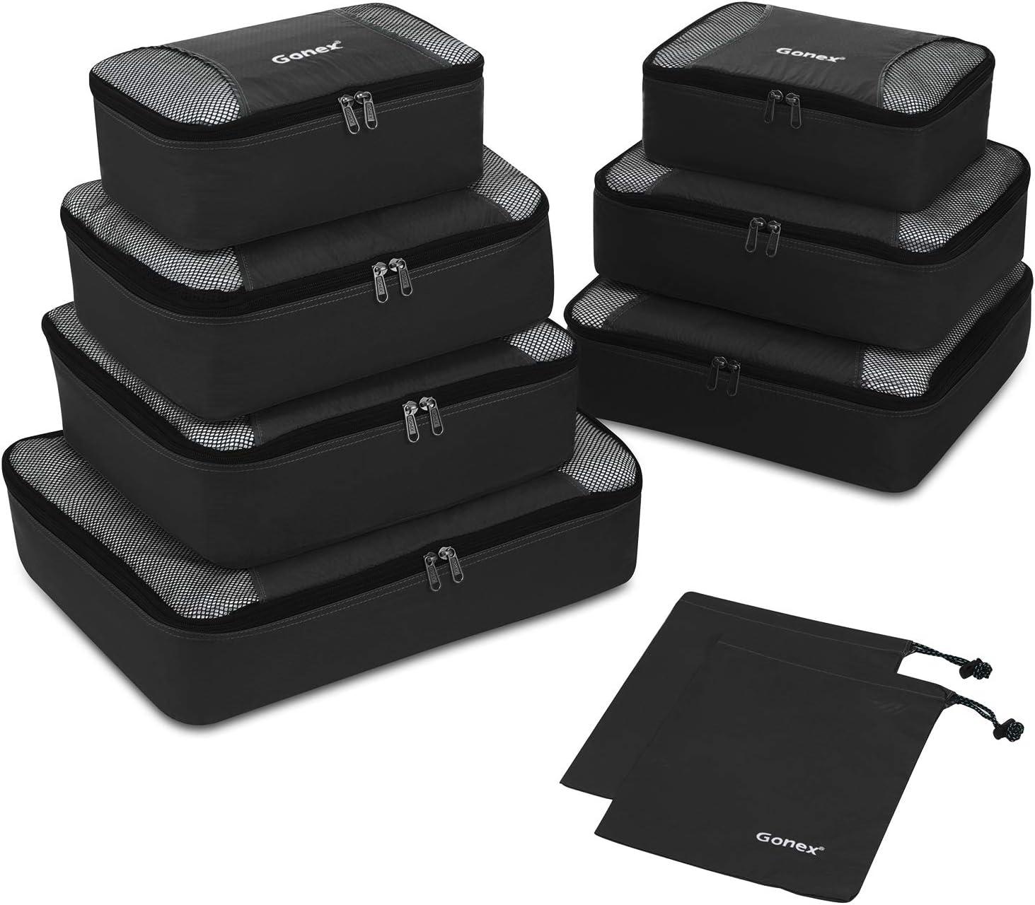 Gonex – 9 Packs Organizador para Maletas/Viaje Bolsas de Embalaje/Almacenaje Ultraligeros Multifuncionales Rip-Stop de Nylon Negro