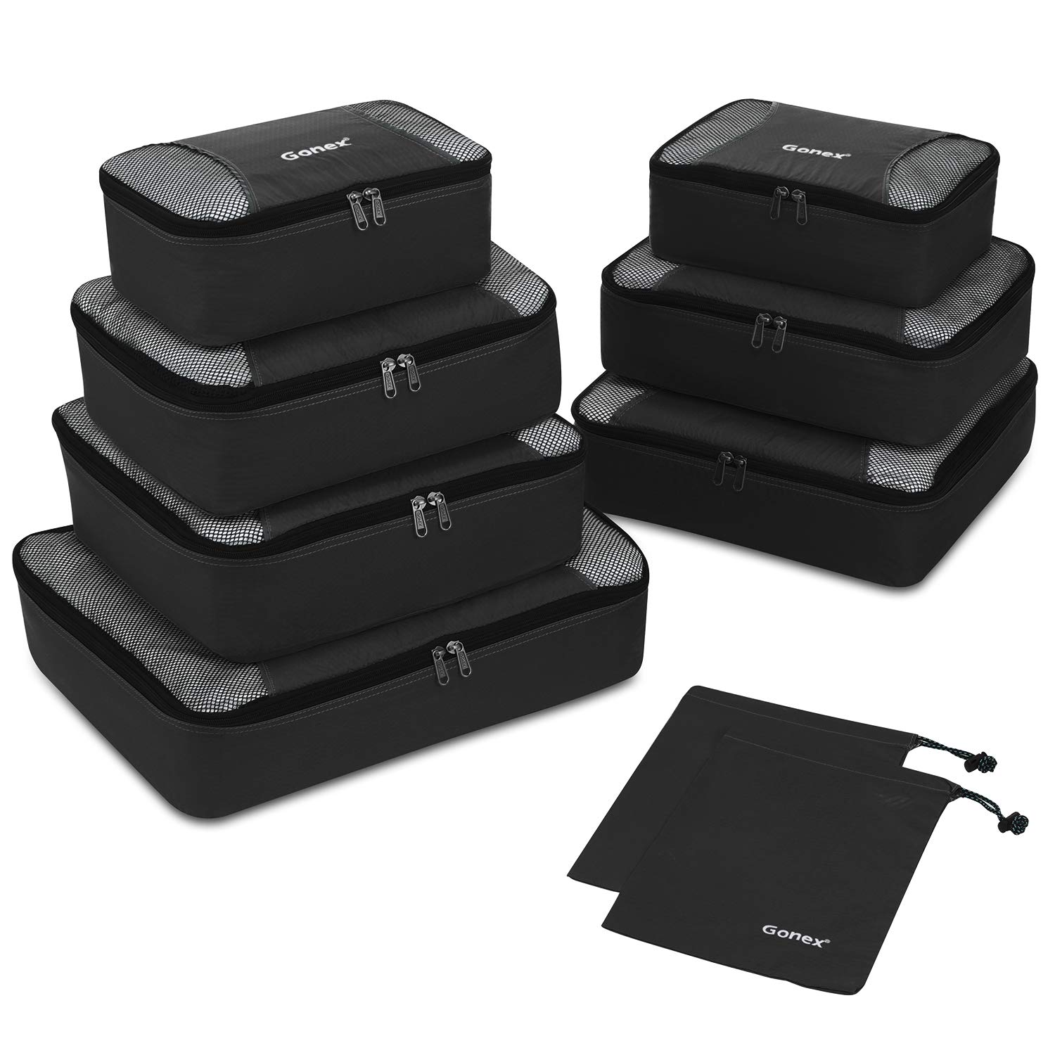 Gonex Rip-Stop Nylon Travel Organizers Packing Bags Black by Gonex