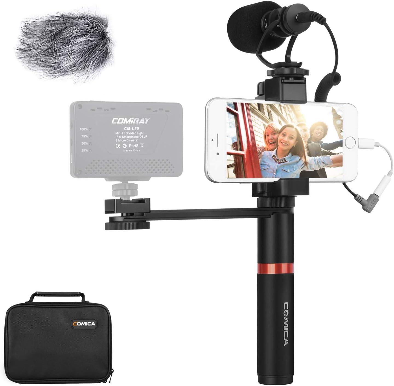 Plataforma de comica Smartphone Video Kit CVM-VM10-K4 cineasta apretón de la manija con el micrófono de escopeta vídeo para iPhone X 8Plus 8 7Plus 7 Samsung Huawei etcetera.: Amazon.es: Instrumentos musicales