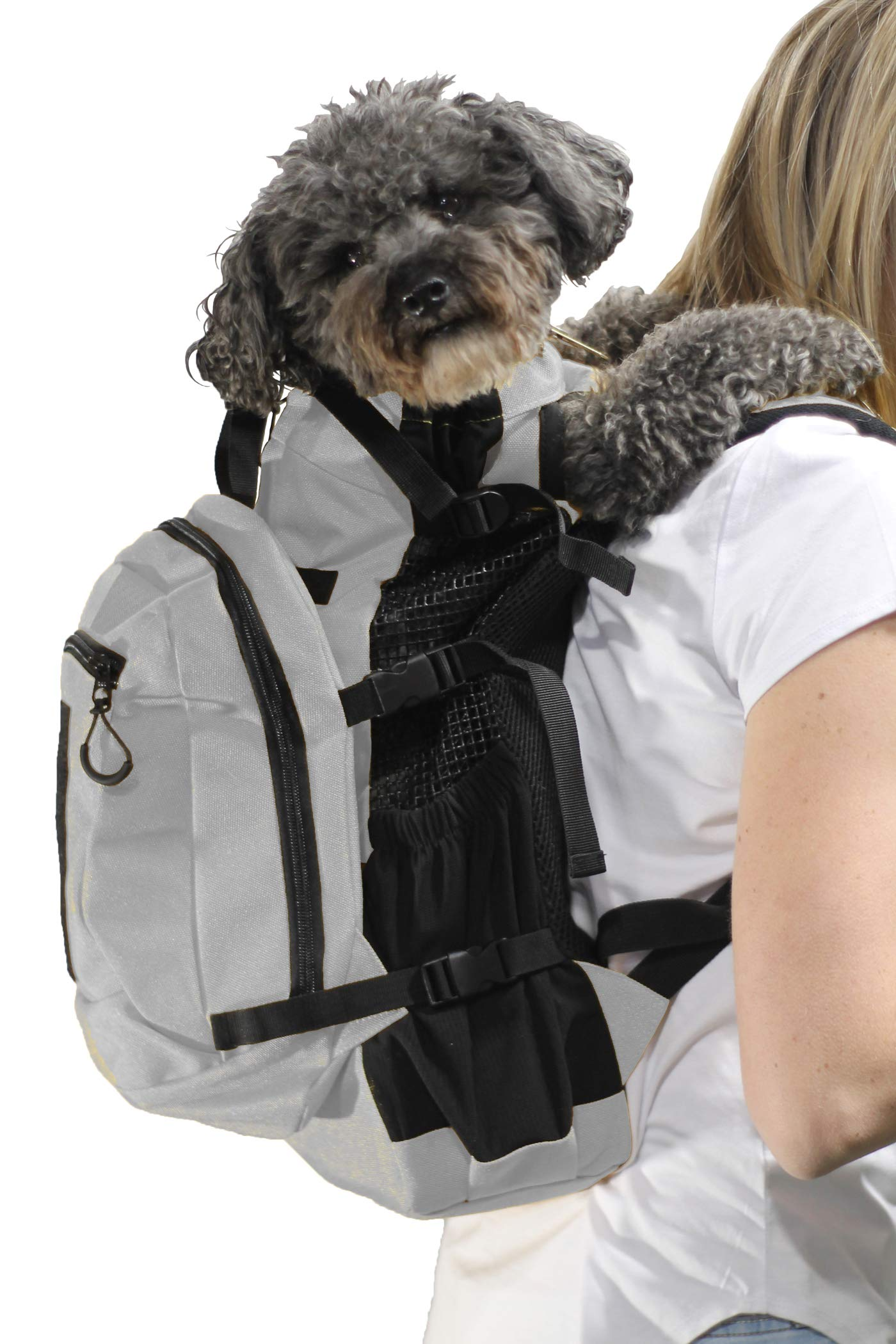 K9 Sport Sack | Dog Carrier Backpack for Small and Medium Pets | Front Facing Adjustable Pack with Storage Bag | Fully Ventilated | Veterinarian Approved (Small, Air Plus - Light Grey) by K9 Sport Sack