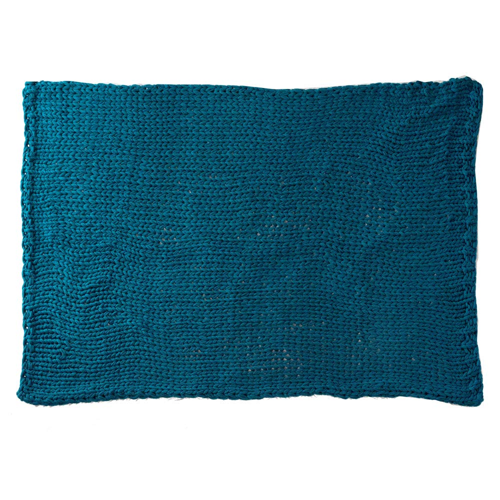 ニットブランケット ピーコックブルー 約140×200cm ブランケット チャンキーニット 大判 ひざ掛け 毛布 手編み 太編み B07J5YHX3S