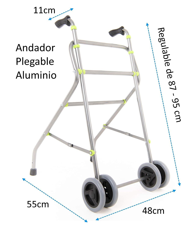 OrtoPrime Andador para Ancianos Plegable - Caminador de Aluminio - Andador Adultos con 4 Ruedas - Mangos Ergonómicos - Andador Regulable en Altura - ...