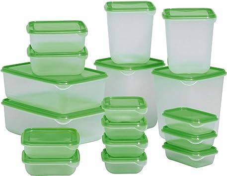 Ikea 0609788130994 Pruta Boîtes De Conservation 17 Pièces Transparent Vert