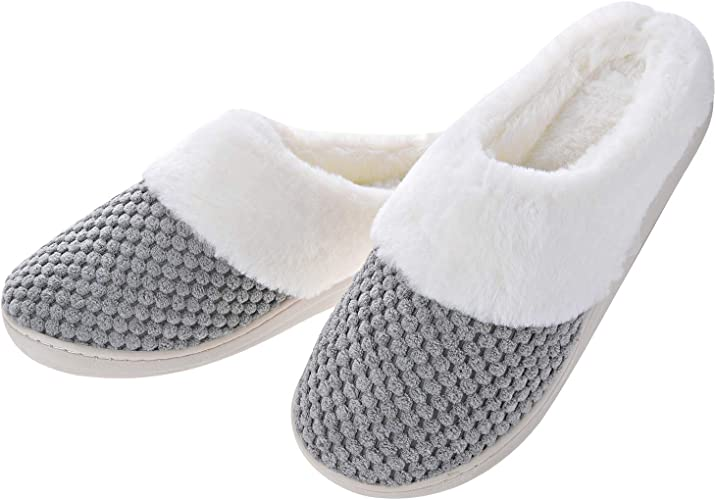 Women's Slippers House Shoes Fleece Fuzzy Plush Lining Comfort Memory Foam Slip On Clog Coral IndoorOutdoor