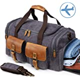 Canvas Weekender Reisetasche Leder Reisegepäck Duffle Bag Handgepäck Tasche Leather Wasserdicht für Herren Damen grau