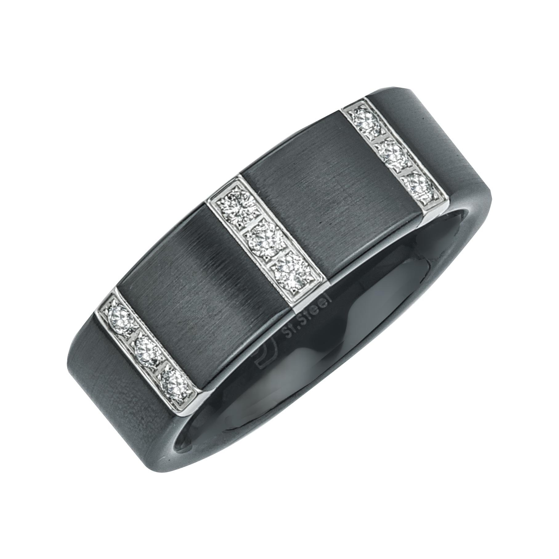 Mens Diamond Wedding Band in Satin Black Ceramic (0.25 carats, H-I I3)